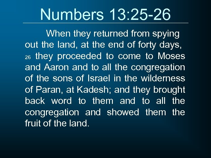 Numbers 13: 25 -26 When they returned from spying out the land, at the