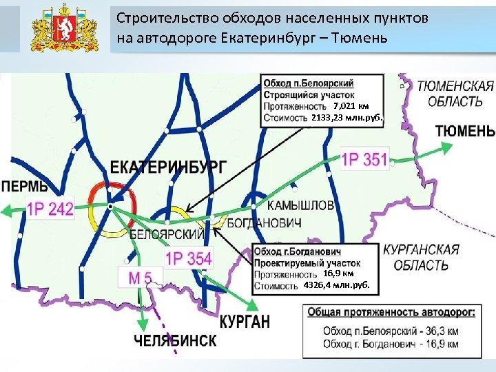 Строительство обходов населенных пунктов на автодороге Екатеринбург – Тюмень 7, 021 км 2133, 23