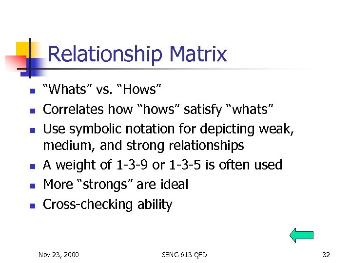 """Relationship Matrix n n n """"Whats"""" vs. """"Hows"""" Correlates how """"hows"""" satisfy """"whats"""" Use"""