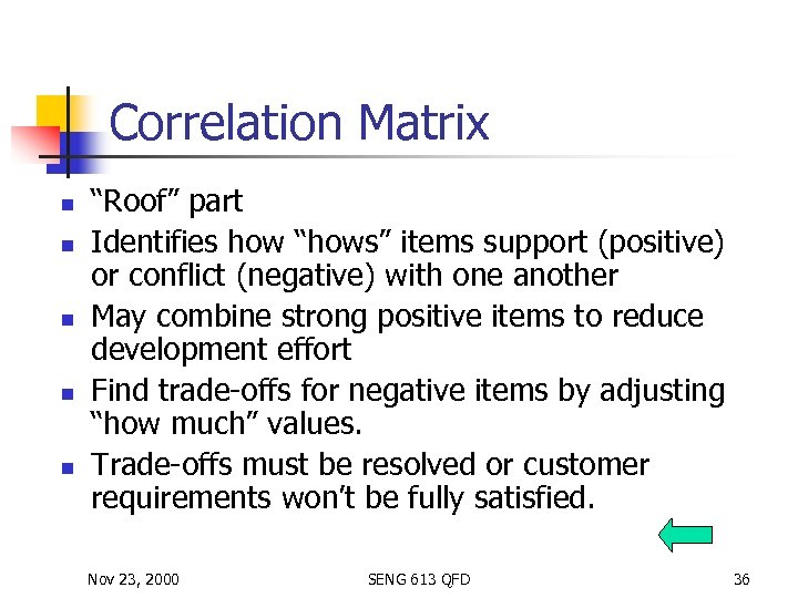 """Correlation Matrix n n n """"Roof"""" part Identifies how """"hows"""" items support (positive) or"""
