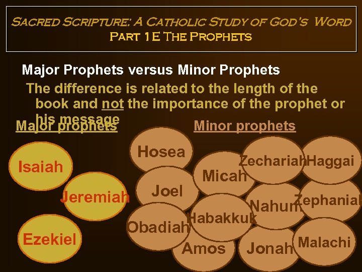 Sacred Scripture: A Catholic Study of God's Word Part 1 E The Prophets Major