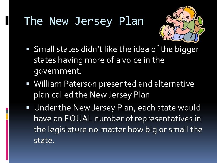 The New Jersey Plan Small states didn't like the idea of the bigger states