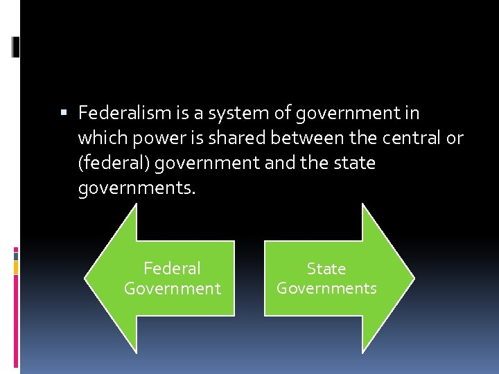 Federalism is a system of government in which power is shared between the