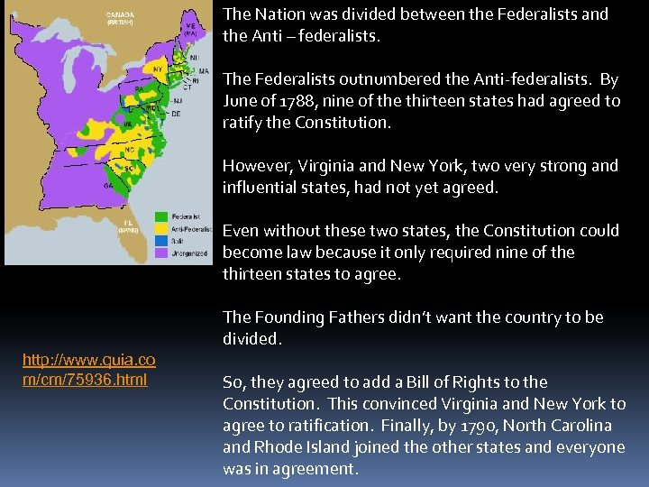 The Nation was divided between the Federalists and the Anti – federalists. The Federalists