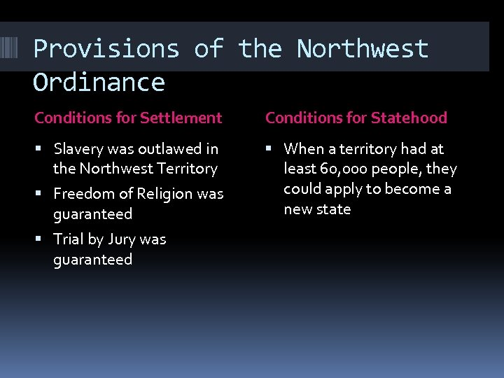 Provisions of the Northwest Ordinance Conditions for Settlement Conditions for Statehood Slavery was outlawed