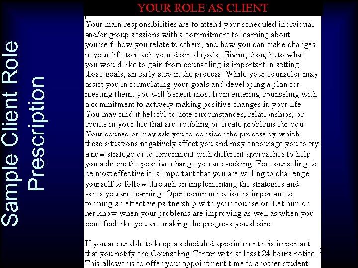 Sample Client Role Prescription YOUR ROLE AS CLIENT 20