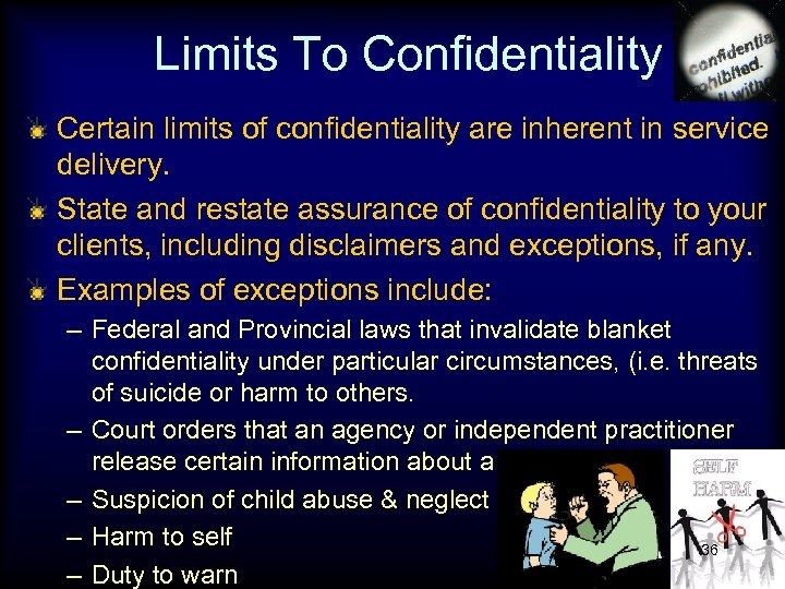 Limits To Confidentiality Certain limits of confidentiality are inherent in service delivery. State and