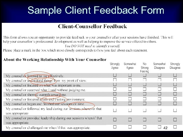 Sample Client Feedback Form 42