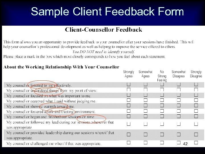 Sample Client Feedback Form 42