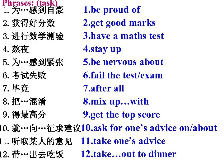 Phrases: (task) 1. 为…感到自豪 2. 获得好分数 1. be proud of 2. get good marks