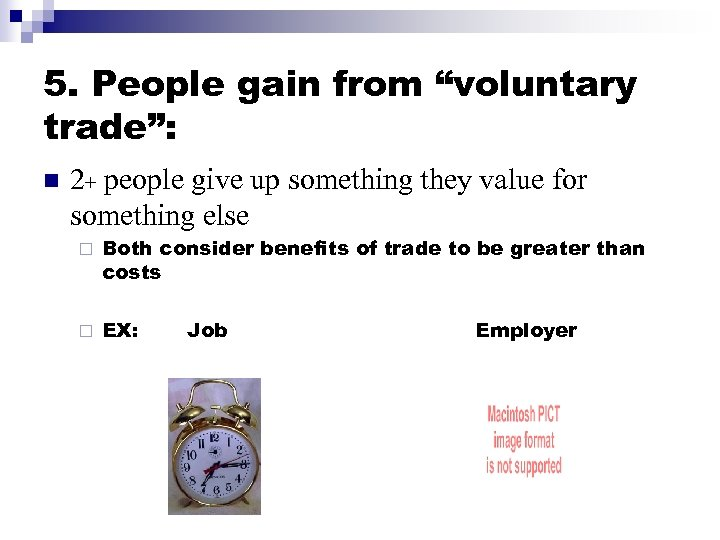"""5. People gain from """"voluntary trade"""": n 2+ people give up something they value"""