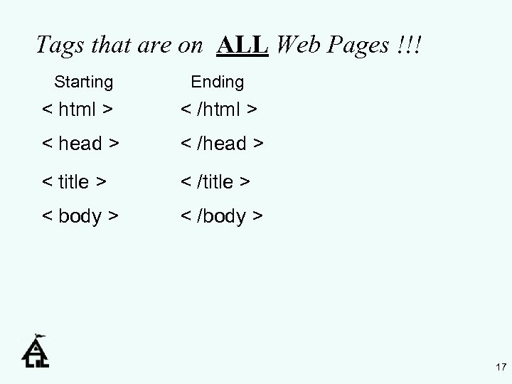 Tags that are on ALL Web Pages !!! Starting Ending < html > <