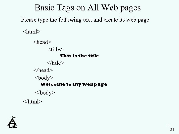 Basic Tags on All Web pages Please type the following text and create its