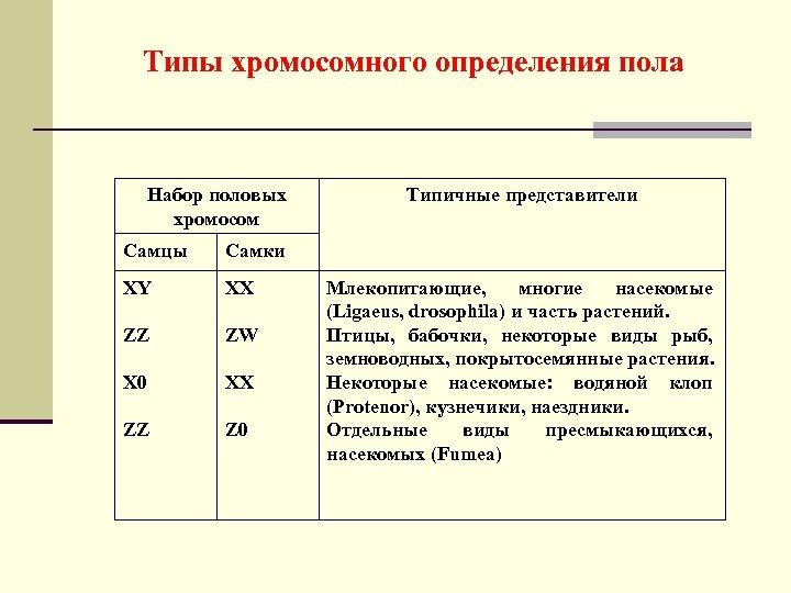 Типы хромосомного определения пола Набор половых хромосом Самцы Самки ХY ХХ ZZ ZW Х
