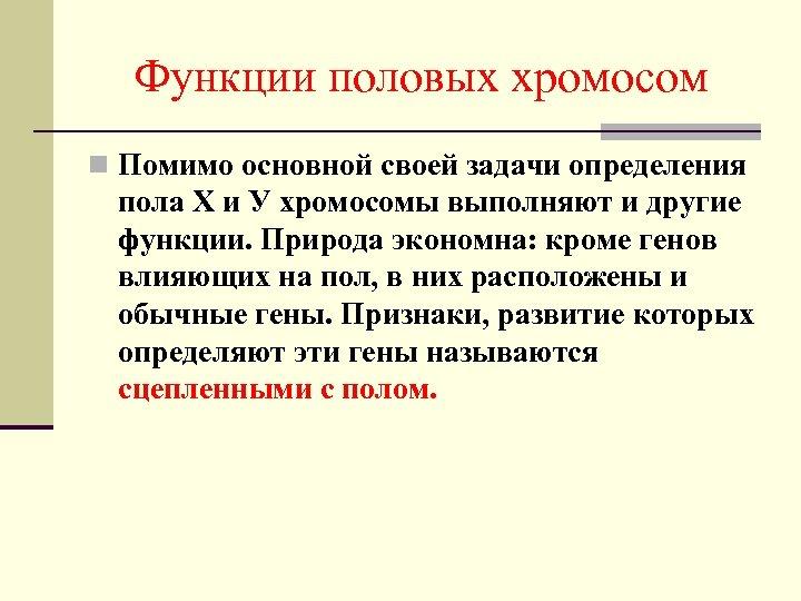 Функции половых хромосом n Помимо основной своей задачи определения пола Х и У хромосомы