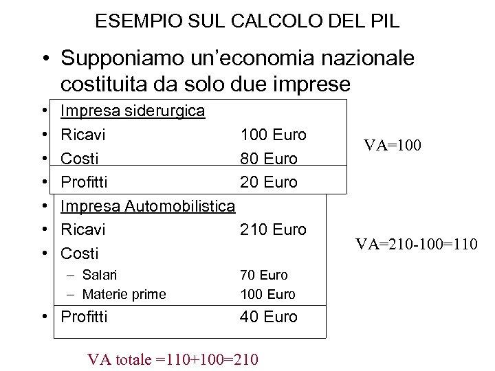 ESEMPIO SUL CALCOLO DEL PIL • Supponiamo un'economia nazionale costituita da solo due imprese