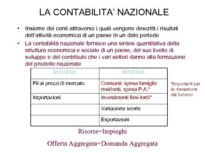 LA CONTABILITA' NAZIONALE • Insieme dei conti attraverso i quali vengono descritti i risultati