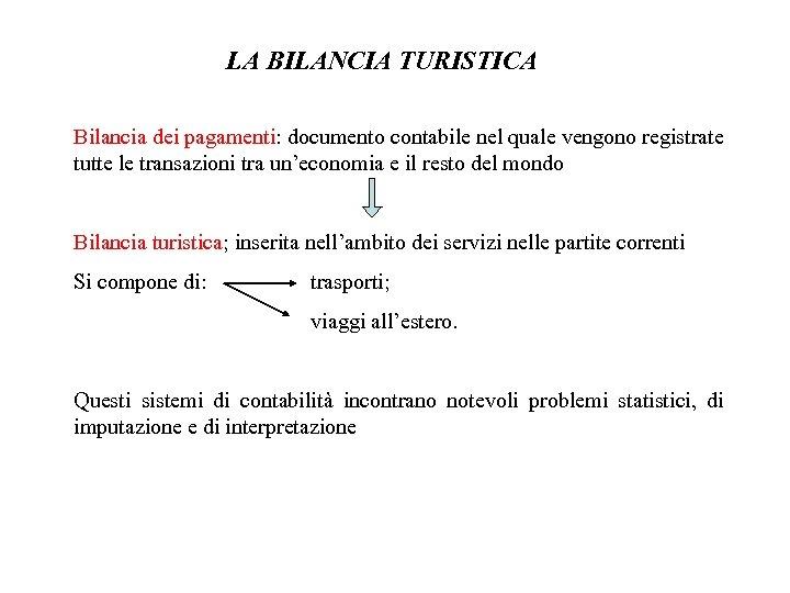 LA BILANCIA TURISTICA Bilancia dei pagamenti: documento contabile nel quale vengono registrate tutte le