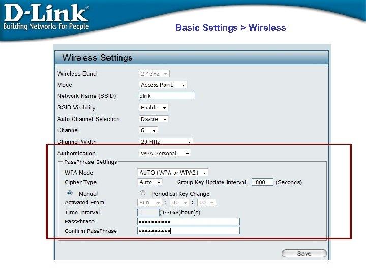 Basic Settings > Wireless