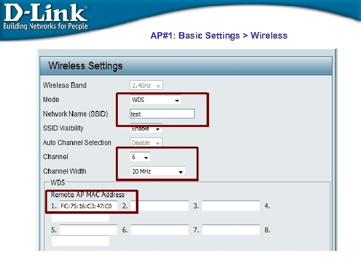 AP#1: Basic Settings > Wireless