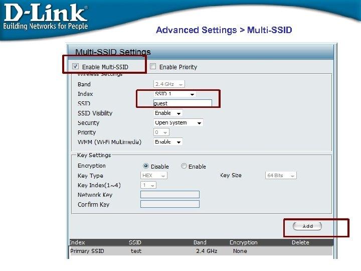 Advanced Settings > Multi-SSID