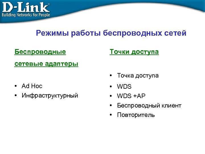 Режимы работы беспроводных сетей Беспроводные Точки доступа сетевые адаптеры • Точка доступа • Ad