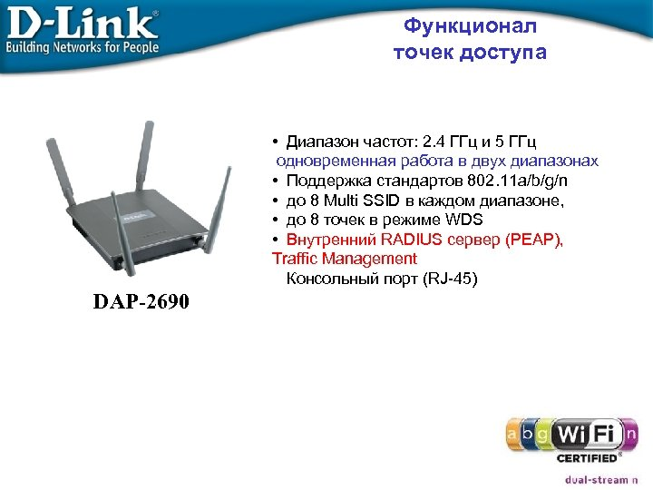 Функционал точек доступа • Диапазон частот: 2. 4 ГГц и 5 ГГц одновременная работа