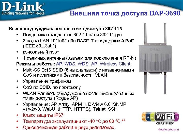 Внешняя точка доступа DAP-3690 Внешняя двухдиапазонная точка доступа 802. 11 N • Поддержка стандартов