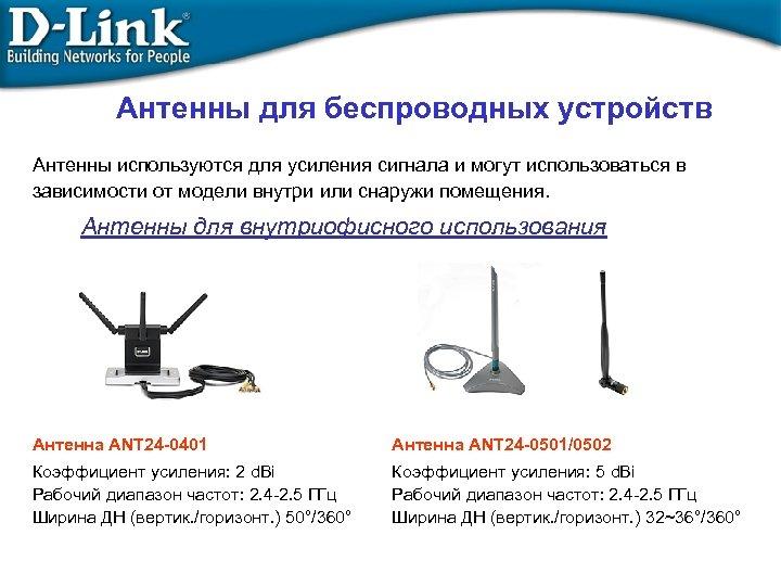 Антенны для беспроводных устройств Антенны используются для усиления сигнала и могут использоваться в зависимости