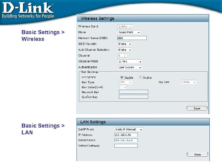 Basic Settings > Wireless Basic Settings > LAN