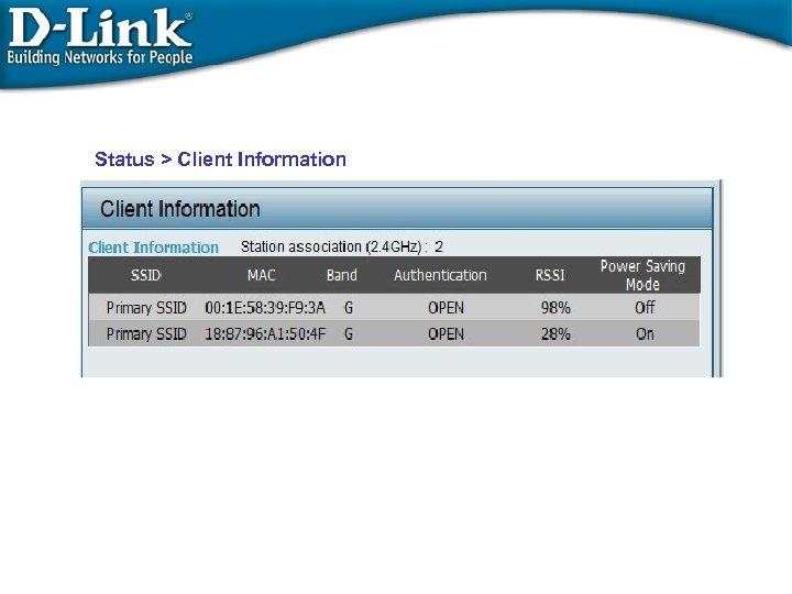 Status > Client Information