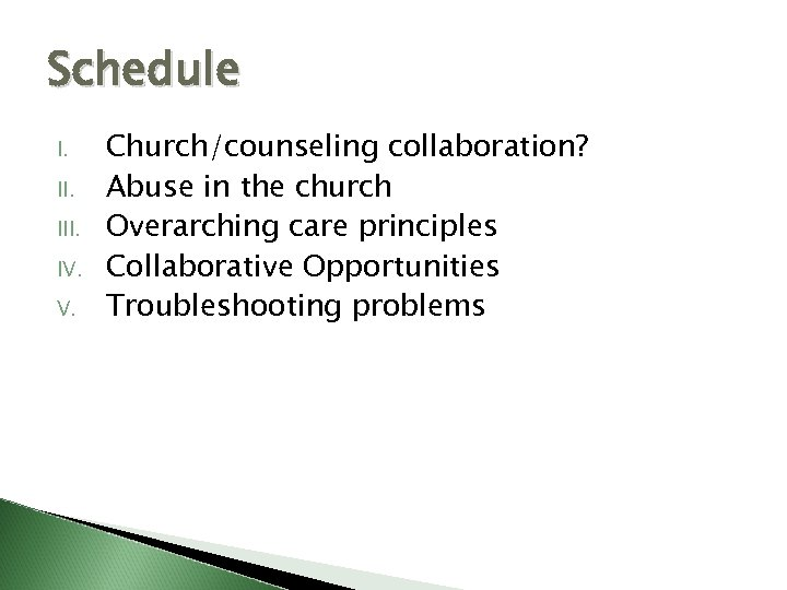 Schedule I. III. IV. V. Church/counseling collaboration? Abuse in the church Overarching care principles