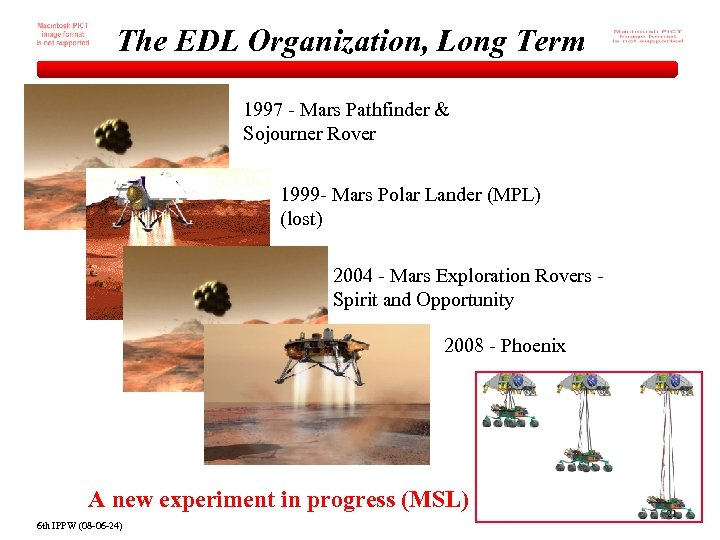 The EDL Organization, Long Term 1997 - Mars Pathfinder & Sojourner Rover 1999 -