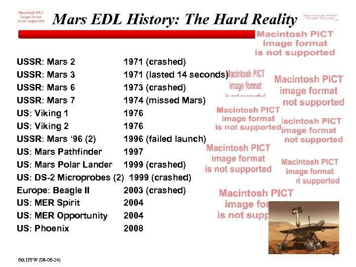 Mars EDL History: The Hard Reality USSR: Mars 2 1971 (crashed) USSR: Mars 3