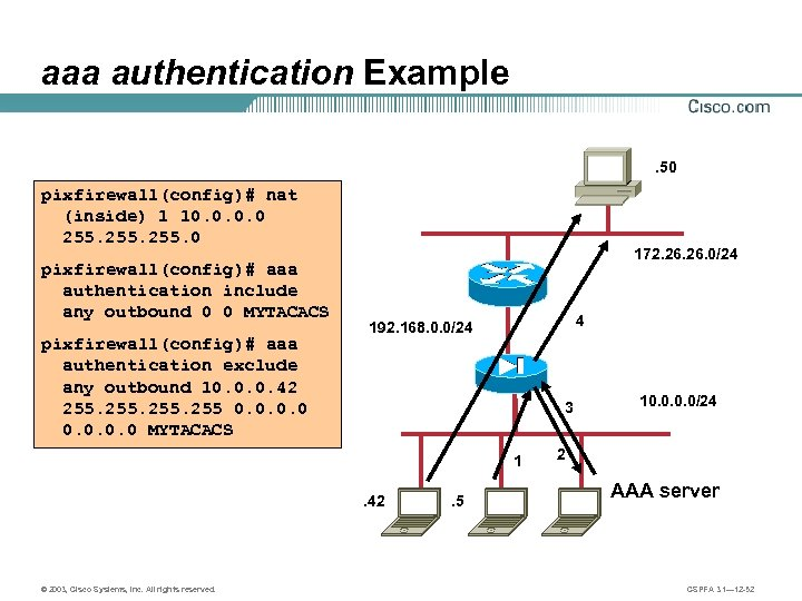 aaa authentication Example. 50 pixfirewall(config)# nat (inside) 1 10. 0 255. 0 pixfirewall(config)# aaa