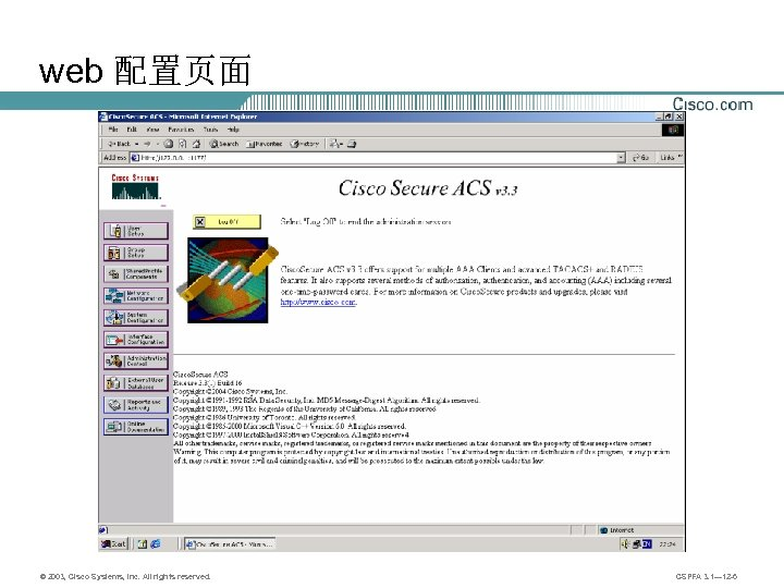 web 配置页面 © 2003, Cisco Systems, Inc. All rights reserved. CSPFA 3. 1— 12