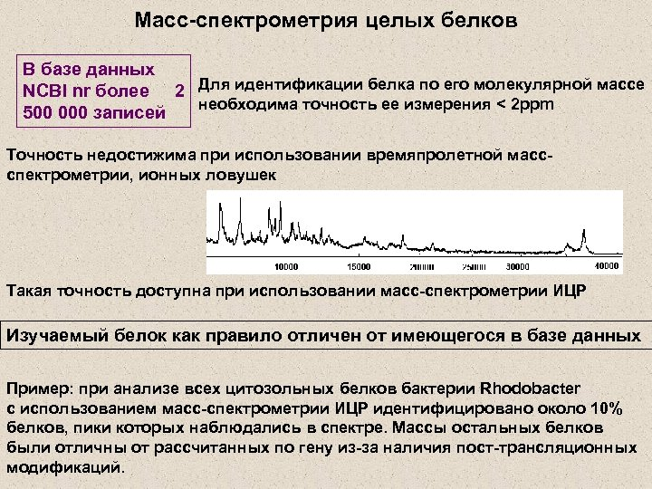 Масс-спектрометрия целых белков В базе данных NCBI nr более 2 Для идентификации белка по