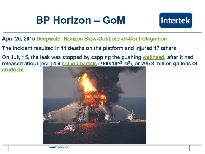 BP Horizon – Go. M April 20, 2010 Deepwater Horizon Blow-Out/Loss-of-Control/Ignition The incident resulted