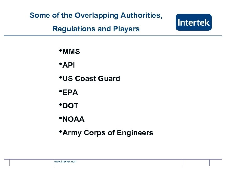 Some of the Overlapping Authorities, Regulations and Players • MMS • API • US