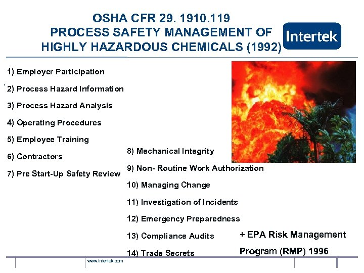 OSHA CFR 29. 1910. 119 PROCESS SAFETY MANAGEMENT OF HIGHLY HAZARDOUS CHEMICALS (1992) 1)