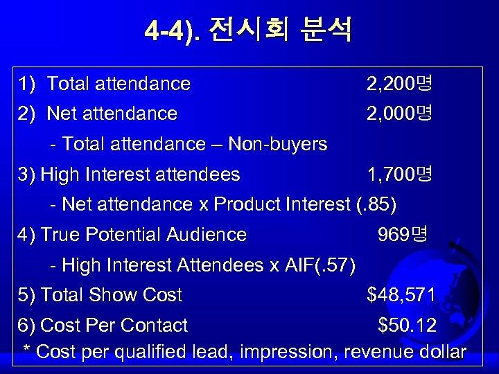 4 -4). 전시회 분석 1) Total attendance 2) Net attendance - Total attendance –