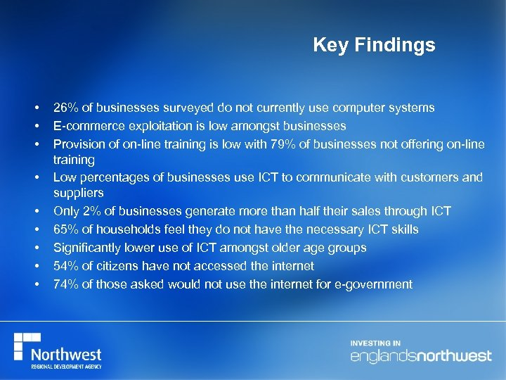 Key Findings • • • 26% of businesses surveyed do not currently use computer