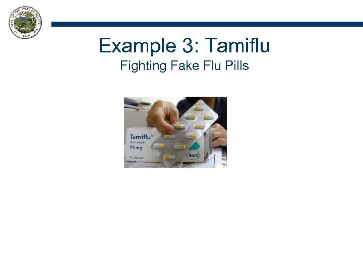 Example 3: Tamiflu Fighting Fake Flu Pills