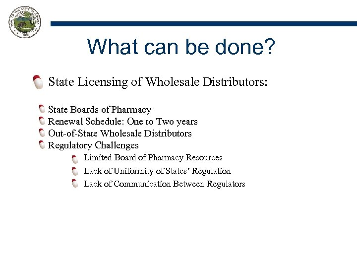 What can be done? State Licensing of Wholesale Distributors: State Boards of Pharmacy Renewal