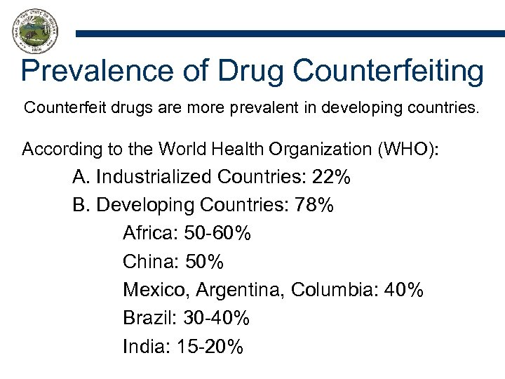 Prevalence of Drug Counterfeiting Counterfeit drugs are more prevalent in developing countries. According to