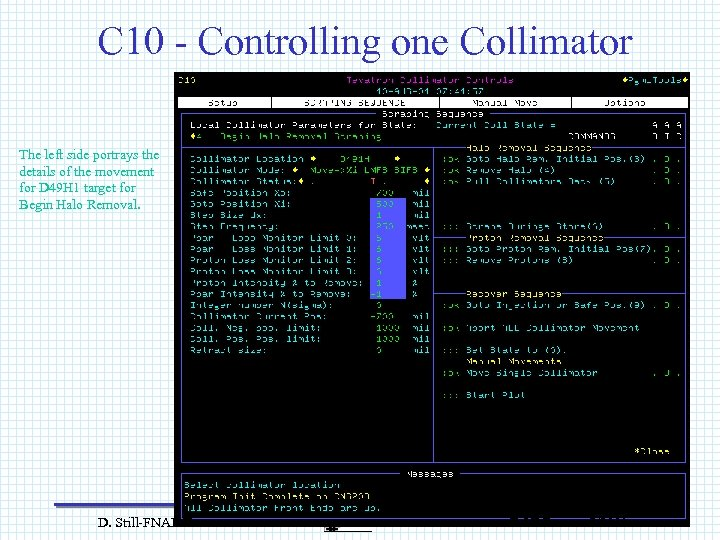 C 10 - Controlling one Collimator The left side portrays the details of the