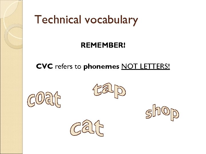 Technical vocabulary REMEMBER! CVC refers to phonemes NOT LETTERS!