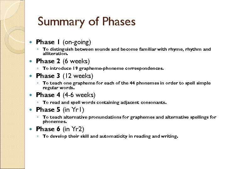 Summary of Phases Phase 1 (on-going) ◦ To distinguish between sounds and become familiar