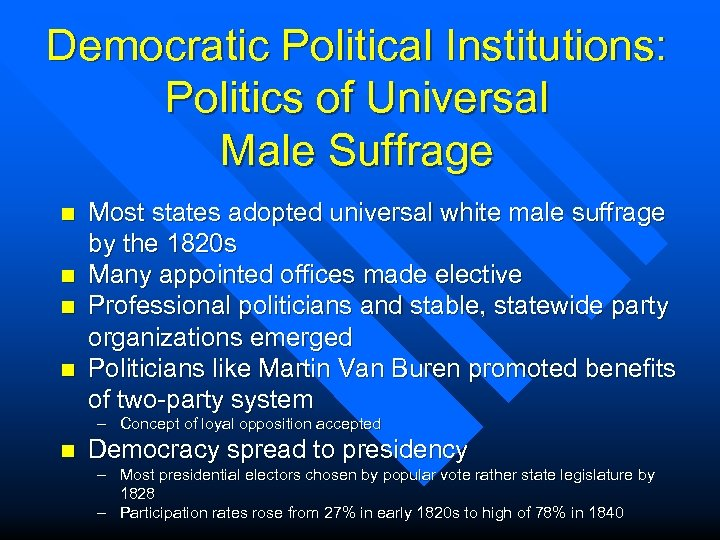 Democratic Political Institutions: Politics of Universal Male Suffrage n n Most states adopted universal