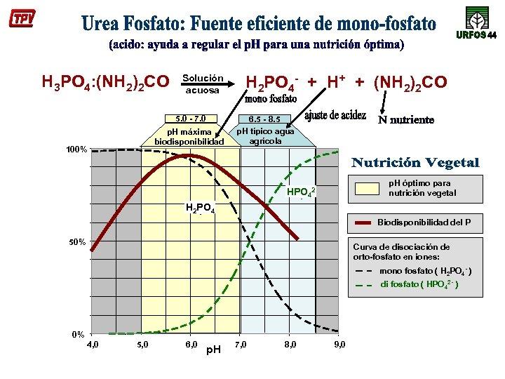 H 3 PO 4: (NH 2)2 CO Solución acuosa 5. 0 - 7. 0